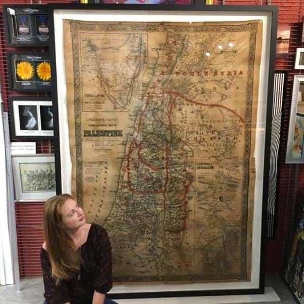 Custom framed vintage map for interior designer