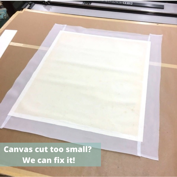 Add fabric to canvases that are cut too small