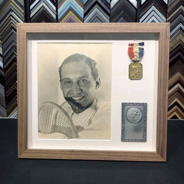framing keepsakes of father - old photo and tennis medals