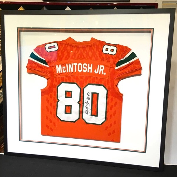 box frame of football jersey with team matching mat boards