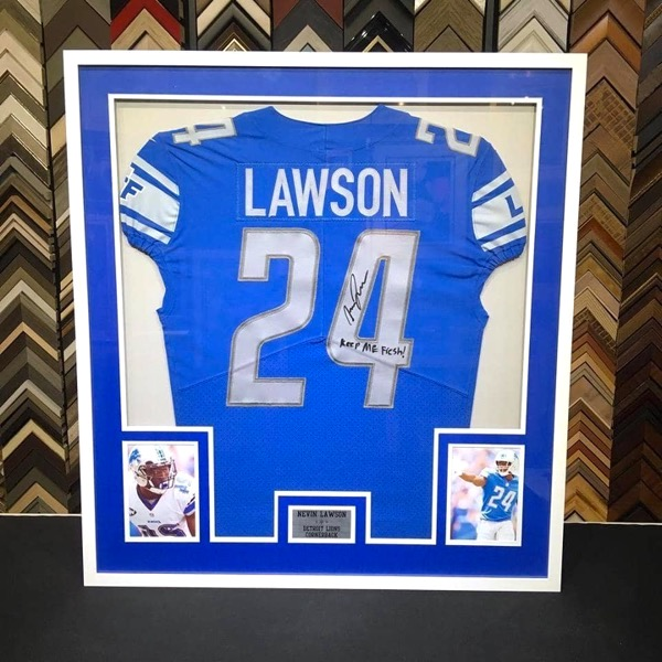 football jersey custom framed with plaque and player photos. Starting at $199