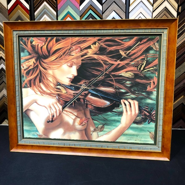 artwork bought and custom framed at Heritage Art Galleries -woman with violin