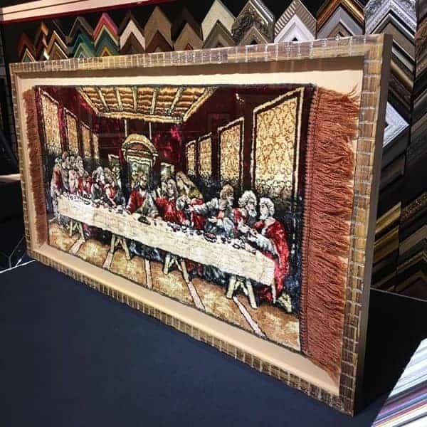 custom framed textile rug