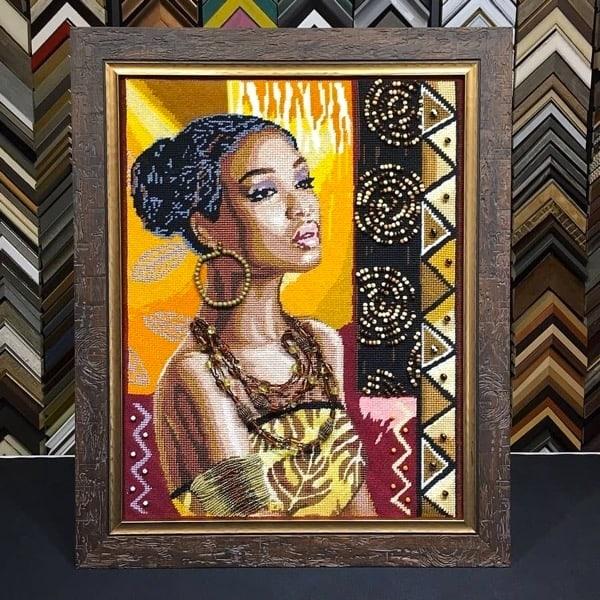 African Needlepoint custom framed