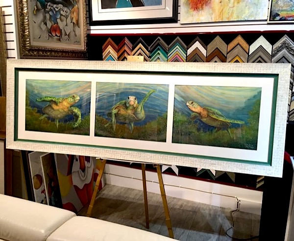 custom large triptych frame with double green and turtle shell wood frames